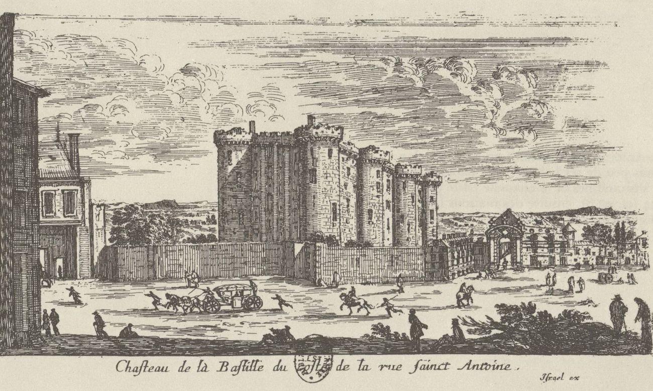 Бастилия. Слева (их на гравюре не видно) ворота Сен-Антуан, за ними - Сен-Антуанское предместье. Небольшая арка справа от крепости - это вход во